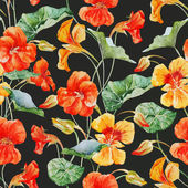 Beautiful vector pattern with nice watercolor nasturtium flowers