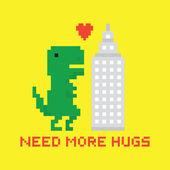 Need more hugs T-rex and skyscraper vector card