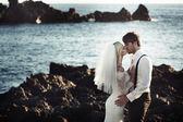 Romantický portrét líbání pár manželství