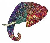 Vector hand drawn colorful tribal ornate decorated elephant illustration logo