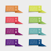 Vector paper flag stickers and labels with realistic shadows for infographic set