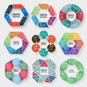 Vector set of circle abstract infographics Template for diagram graph presentation and chart Business concept with options parts steps or processes Abstract background