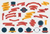Vector set of colorful empty retro ribbons banners and badges isolated