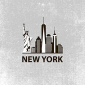 New York city architecture retro black and white vector illustration skyline city silhouette skyscraper flat design
