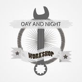 Logo for repair workshop. Emblem mechanics. Tools mechanics - open-end wrench, adjustable wrench.   Logo workshop in the old school style.