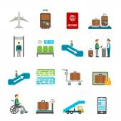 Airport travel vector icons with online ticket reservation and navigation signs in flat style