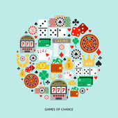 Gambling flat icons set Casino concept collection