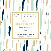 Happiness  Retro label package template
