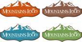 Mountain Design Creative vector icon with snow peaks.