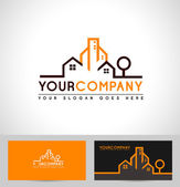 Real Estate Logo with buildings houses and tree silhouette
