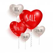 Red and white balloons made in shape of hearts Sales and discounts concept