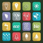 Ecology icons with long shadow Set 02