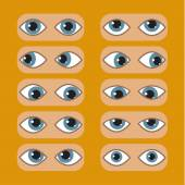 Set of Eyes Positions Flat vector illustration