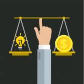 Vyrovnání mezi penězi a nápad