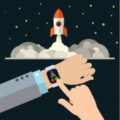 Illustration of Smart Watch and the spaceship Concept of startup Flat Design vector illustration