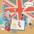 Постер, плакат: Concept of travel or studying English