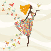 Vector beautiful woman with flying hair in bright dress with pattern made of stylized butterflies