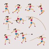 Sportovní sportovci, atletiku, ženy Set
