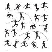 Sportovní sportovci, atletiku, silueta Set