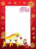 Čínský Nový rok rám s dračí tanec