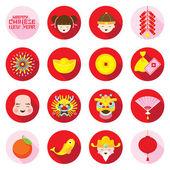 Ploché ikony Set: Čínský Nový rok
