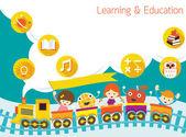 Škola, vlak, děti textu bubliny pozadí