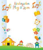 Mateřská škola, školka, objekty, hranice a rám