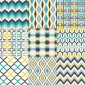 Vector background  set of seamless retro geometric pattern