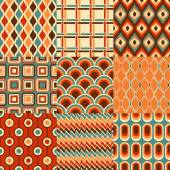 Seamless retro geometric pattern vector set