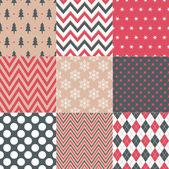 Seamless christmas symbols patterns set in retro color vector illustration