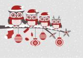 Cartoon christmas invitation card with owls family vector illustration