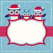 Cartoon christmas invitation card with owls family vector illustration
