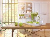 Frische weiße Tulpen auf Küche Hintergrund