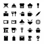 Set of kitchen utensils and collection of cookware icons cooking tools and kitchenware equipment