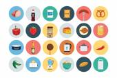 These Flat Food Vector Icons are perfect for all kind of restaurants coffee shops fast foods and any other business related to the food industry