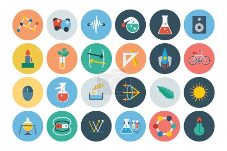 Постер, плакат: Flat Science and Technology Icons 3, холст на подрамнике