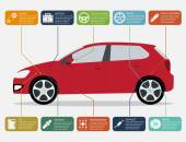 Infographic template with car and car parts icons service and repair concept