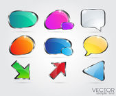 Set glossy volume download button icon Vector design