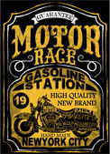Motocykl label t-shirt design s ukázkou vlastních kotleta