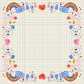 Clouds rainbows raindrops hearts love border Vector illustration