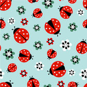 Ladybugs with flowers on light blue seamless pattern