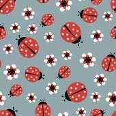Pink ladybugs on grey seamless pattern