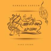 Ramadan Kareem Lettering or calligraphy with lanterns mosquemuslim people and ketupat sketch for holy month of muslim community Ramadan Kareem can use for greeting card invitation card