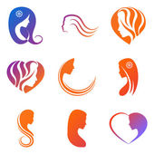 Set of colored elements for Logo  beauty salon company with female face hair heart on white background