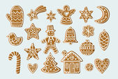 Set with gingerbread figures: tree stars snowflakes man house bird heart mittens ball For postcards backgrounds prints