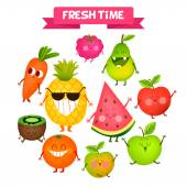 A set of cute fruits Illustration with funny characters Love and hearts Funny food time fresh
