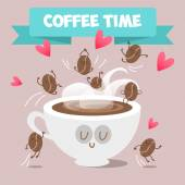 Cup of coffee and coffee beans frolicking Cappuccino cocoa Hot drink Everyone needs coffee Vector illustration of comic characters coffee and cocoa beans