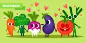 Set of cute fruits Illustration with funny characters Love and hearts Funny food time fresh Tomato radish broccoli fennel carrot