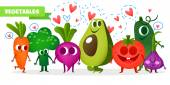 A set of cute fruit Illustration with funny characters Tomato radish broccoli carrotsavocado Summer time Fresh meal
