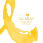 Gold ribbon Children cancer awareness symbol Vector illustration in watercolor style